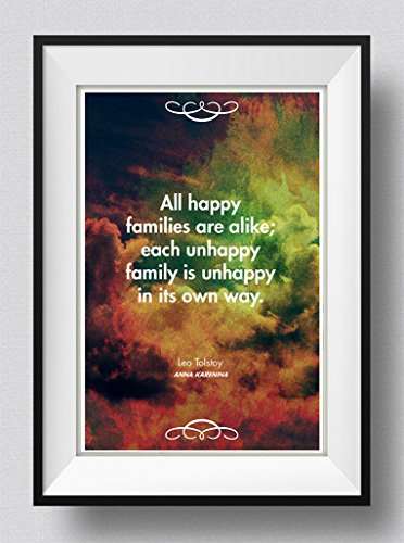 "Price comparison product image Leo Tolstoy Quote Anna Karenina ""All Happy Families..."" Art Print Photo Poster Gift - Size: 91cm x 61cm"
