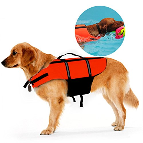 Ploopy Light Weight Haustier Hundeschwimmweste Schwimmsicherheitsweste, Nacht reflektierende Schwimmweste für Hunde Orange XL
