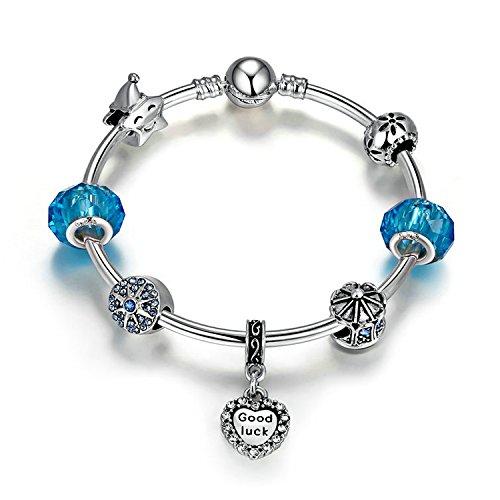 Youfeng gioielli puppy dog charm bracciale braccialetto bracciale in vetro di murano, con pietra rosa per bambina e placcato argento, colore: rosa, cod. ypa3810-19