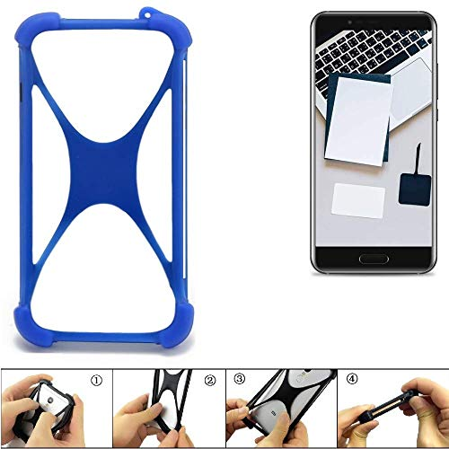 K-S-Trade Handyhülle für Blackview P6000 Silikon Schutz Hülle Cover Case Bumper Silikoncase TPU Softcase Schutzhülle Smartphone Stoßschutz, blau (1x)