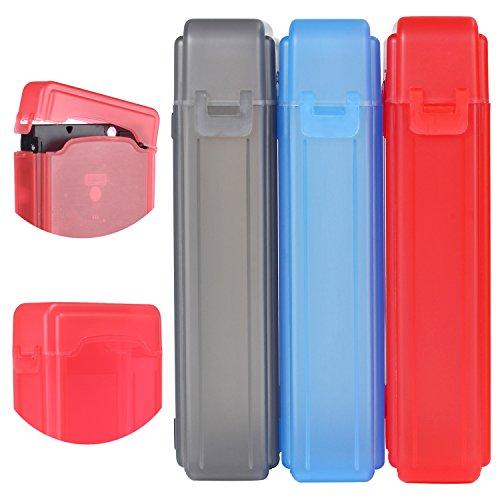 KOSBON Pack de 3 3.5 pulgadas IDE / SATA HDD Caja de almacenamiento de protección de disco duro Caja (Gray/Blue/Red)