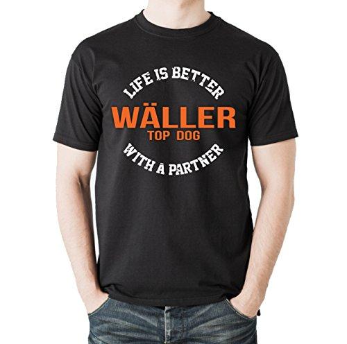 Siviwonder Unisex T-Shirt WÄLLER - LIFE IS BETTER PARTNER Hunde Schwarz