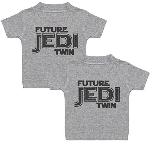 Future Jedi T-Shirts Bébé Jumeaux, Bébé Haut Jumeaux, Bébé garçon T-Shirts Jumeaux, Bébé Fille T-Shirts Jumeaux - 6-12 Mois Gris