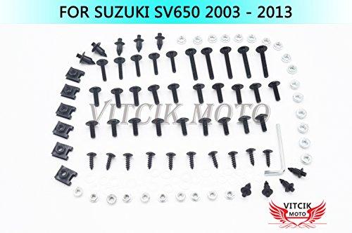 VITCIK Kits de boulons pour moto SV650 2003-2013 SV 650 03 04 05 06 07 08 09 10 11 12 13 attaches aluminium CNC (Noir & Argent)