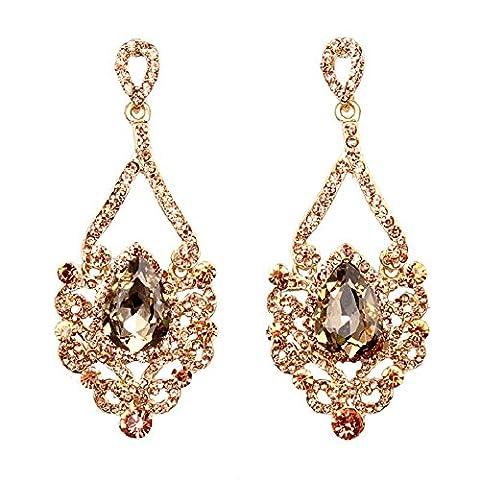 Hamer – Boucles d'oreilles pendantes faites à la main en cristal et alliage de zinc – Longueur 8,4 cm, largeur 2,5 cm, poids 11,9g