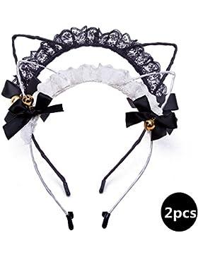 AWAYTR 2PC Schwarz Spitze Katzenohren Stirnband Nettes Glocken-Party-Kostüm Fancy Dress Porträt Stil Haar Hoop