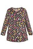 Ulla Popken Damen große Größen bis 66+ | Tunika, Shirt mit Muster | V-Ausschnitt, Langarm, Taschen | A-Linie | Multi 46/48 713220 90-46+