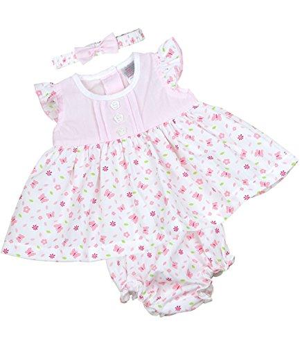 BabyPrem Kleidchen Kopfband & Höschen Set Mädchen Babykleidung Schmetterling 62-68cm ROSA (Höschen Set Mädchen)