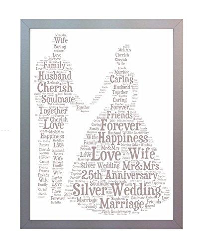 Oaktree Gifts gerahmt 25. Silber Hochzeit Jahrestag Wort Art A4Foto Bild Print. Andenken und Geschenk für Mutter, Vater, Freund und Familie