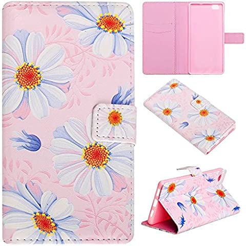 TKSHOP Custodia portafoglio in PU pelle per Huawei p8 lite Funzione di Sostegno Stand con la Copertura del Raccoglitore per la Carte Chiusura Magnetica Shock-Absorption + Penne Capacitive Stylus penna Rose per dispositivi touchscreen - Piccolo blu crisantemi