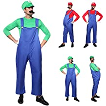 CLE DE TOUS - Disfraz de Luigi para Adulto hombre Cosplay Dress Fiesta Carnaval Halloween Talla M (40) L (42) (Talla M (40))