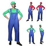 Anladia CLE DE Tous - Disfraz de Luigi para Adulto Hombre Cosplay Disfraz para Fiesta Carnaval Halloween (Talla M 40)