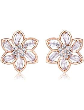 Zolure Blumen Ohrstecker Gold überzogen Zirkonia Ohrringe Schmuck Weihnachtsgeschenke für Frauen Frau Mädchen