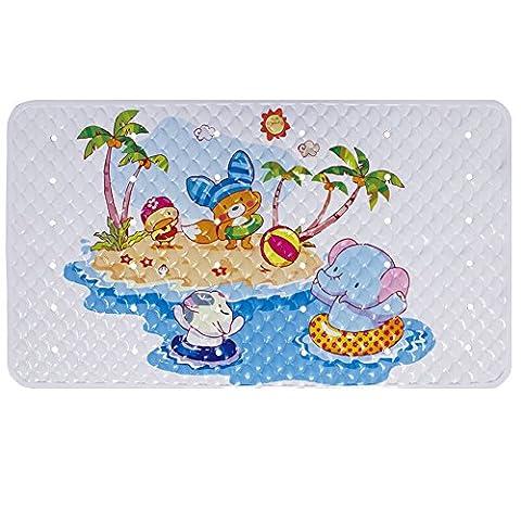 Tapis de bain antidérapant pour douche et baignoire pour bébé enfants tout-petits avec ventouses empêchent Skid sur de salle de bain ou sol Tub - éléphant