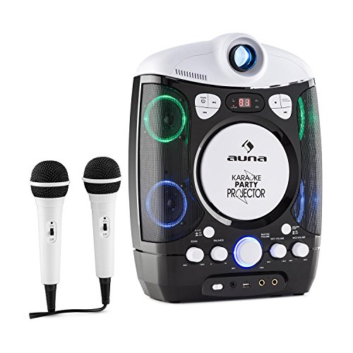 • Kinder Karaoke Anlage • Karaoke Player Set • LCD Video Projektor • 2 x dynamisches Mikrofon • CD+G-Player • USB • MP3-fähig • Audio-, Video-Ausgang • LED-Lichteffekt • schwarz ()