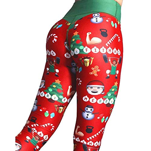 Tomwell Damen Leggings Tech Mesh Yoga-Fitness-Hose Lange Streetwear Sporthose mit Netzeinsätzen Grün Rot ()