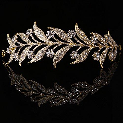 SimpleLife Leaf Tiara Stirnband, mittelalterliche Kopfschmuck - simulierte Perle Stirnband Haar Tiara Krone Braut Hochzeit Tiara Prinzessin Schmuck Frauen Luxus Queen Decor
