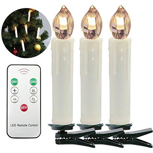 HJ® 30er Weinachten LED Kerzen Lichterkette Weihnachtskerzen mit Fernbedienung Kabellos LED-Mini-Christbaumkerzen, Dimmbar