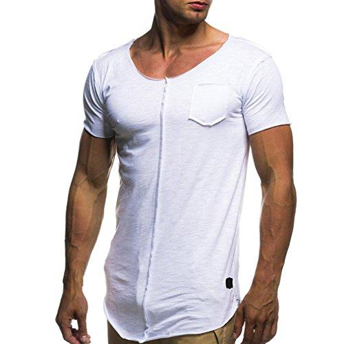 1cc3f5c4e9 Homebaby® Camicia Uomo Elegante Maglietta Manica Corta Casual Puro- T-Shirt  Uomo Sportivi Vintage Cotone Stretch Maglione Uomo Tumblr Estiva  Particolari ...