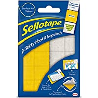 Sellotape 1445176 Sticky Hook and Loop Sets,  20 x 20 mm Ref 4542 - Pack of 24