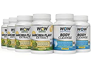 Wow Garcinia Cambogia -90 Capsules (Pack of 3) with Wow Body Cleanse Booster - 60 Capsules (Pack of 3)