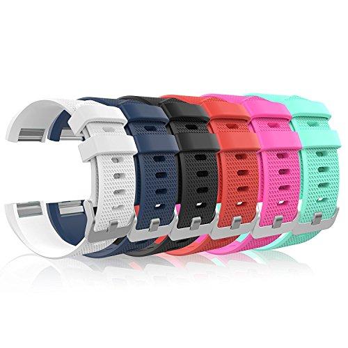 6PCS Fitbit Laden 2Band, weiches Silikon verstellbar Ersatz Sport Handgelenk Band für Fitbit Laden 2Smartwatch Herzfrequenz Fitness Armband (Multi-gun-case)