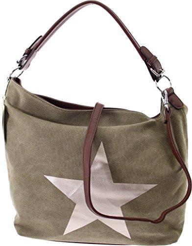 Shopper Canvas-Tasche Blogger Schultertasche Canvas Damen Handtasche Schultertasche Umhängetasche Henkeltasche (Black) Green