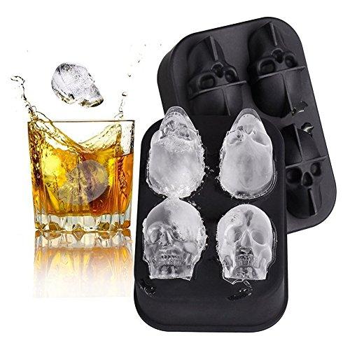 Surenhap Eiswürfelform-Set aus 1 Kugelform und 1 Rechteckform für Eiswürfel - wiederverwendbar und BPA-frei, Silikon, Skull