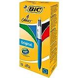 BIC 4 Couleurs Original Stylos-Bille Rétractables Pointe Moyenne (1,0 mm) - Boîte de 12