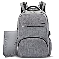 Baby Nappy Bag Backpack with USB Charging Port,BRINCH Stylish Unisex Diaper Backpack Insert Organizer for Boys / Girls, with Changing Pad,Stroller Straps & Insulated Pockets for Mom / Dad,Grey