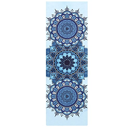 SLHP Reise Yogamatte 1mm | Extrem leicht, dünn, faltbar, rutschfest, waschbar 3-in-1 Matte Handtuch für Yoga Pilates (180x65cm / 70.9x25.6\'\', A)
