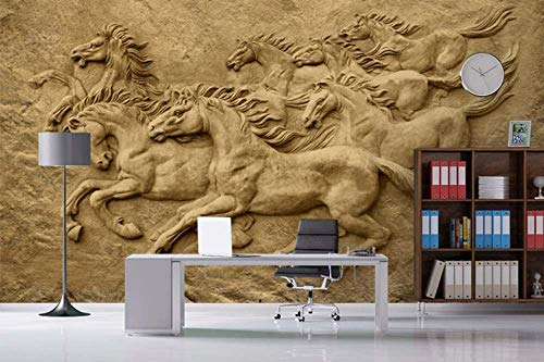 Speedcoming 3D Horse Wall Art Peel Und Stick Wallpaper Horswallpaper, Abnehmbare Tapete, Ölgemälde Wallpaper-250x175cm