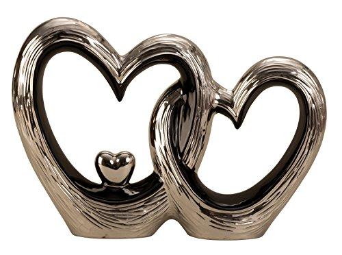Moderne Skulptur Herz Liebe aus Keramik schwarz/Silber Höhe 23 cm Breite 33 cm -