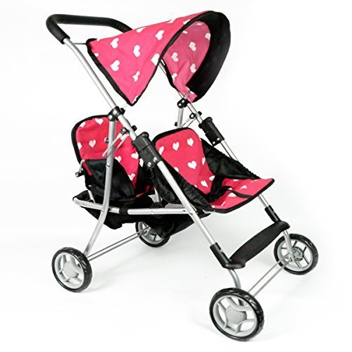 The New York Doll Collection 9618 My First Doll Twin Stroller - Cutest Heart Design Doll Twins Stroller - Great Toy Gift for Girls by The New York Doll Collection (Stroller Doll Twin)