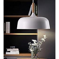 E27 Vintage Industrial Iluminación Colgante, 60W Edison Retro Lámpara de Techo Aluminio y Madera Pantallas de Iluminación para Loft Restaurante Coffee Bar (Blanco)