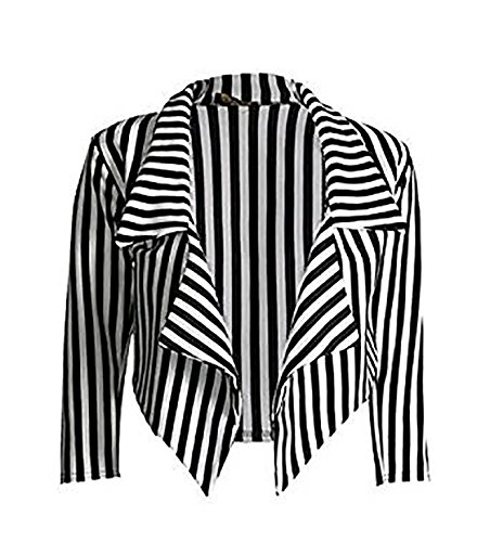 zara-fashion-women-3-4-manches-a-rayures-waterfall-crop-blazer-jacket-top-sm-black-white