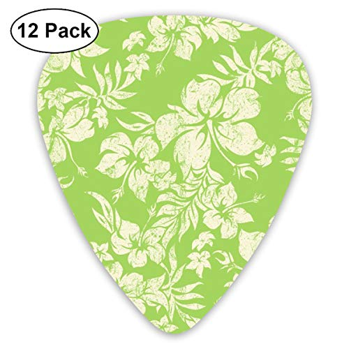 Distressed Hawaiian Hibiscus Floral- Lime Green_3809 Classic Celluloid Picks, 12-Pack, For Electric Guitar, Acoustic Guitar, Mandolin, And Bass (Lime Green Fans)