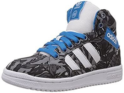 adidas Originals Boy's Pro Play K Core Black, White and Solar Blue Leather Sneakers  - 6 UK/India (39.3 EU)