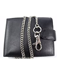 Leather Emporium Mens High Quality Luxury Black Leather Chain Wallet 172