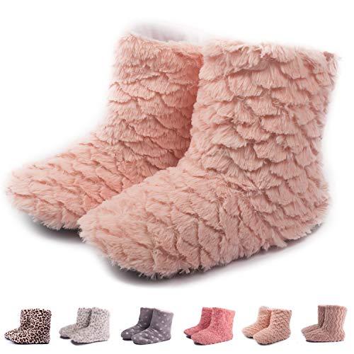TWINS Fashion « Montreal » weich & warm gefütterte Damen Hütten-Schuhe I Stiefel I Slippers I Fleece Plüsch - Rutschfeste hohe Hausschuhe Winter (36/37, Rose) - Rosa Stiefel Winter Fell