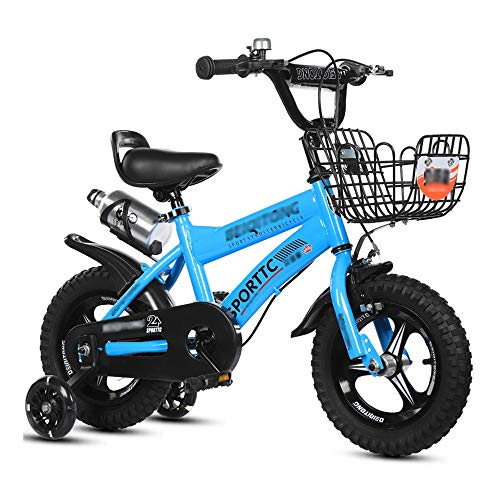 LJJL Girl Blue Kinderfahrrad, Boy Flash Assist-Rad Mit Rücksitz des Fußfahrrads 15.7inch Kinderfahrräder (Farbe : Blue-2, größe : 53.3CM) -