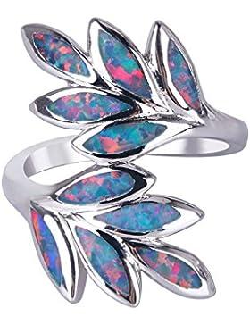 Behandelt Opal Ring Neuheit Blätter Gestalten Frau Mode Luxus Schmuck