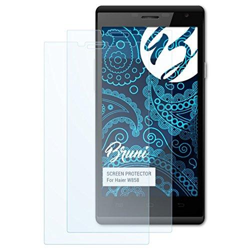 Bruni Schutzfolie kompatibel mit Haier W858 Folie, glasklare Bildschirmschutzfolie (2X)