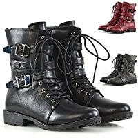ESSEX GLAM New Womens Lace Up Biker Ankle Mid Calf Ladies Buckles Zip Military Combat Boots