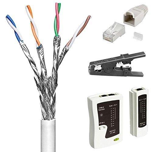 Preisvergleich Produktbild 100 m Cat6 Patchkabel - Netzwerkkabel; Set mit Netzwerk-Tester, Abisolierer und 20 Stück Netzwerk-Stecker; doppelt geschirmt; S/FTP PIMF; Flexibler Innenleiter