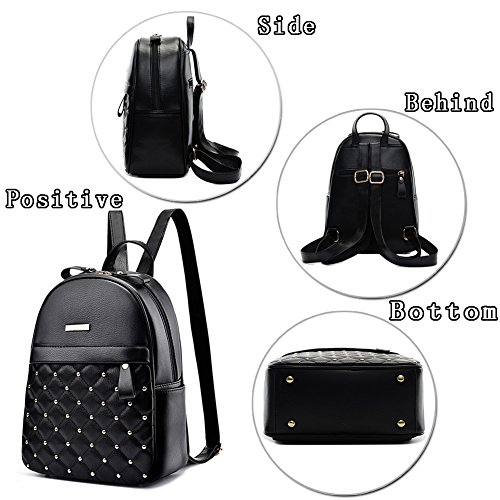(G-AVERIL) new model PU leather Backpack working bag girl backpack shoulder black leather backpack for women casual shoulder bags Nero