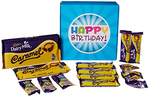 The Ultimate Cadbury Dairy Milk Caramel Chocolate Lovers Happy Birthday Gift Box - By Moreton Gifts - Full of Cadbury Caramel Bars, Nibbles and Freddo Caramel