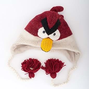 Vogel Rot (Red Bird) - Strickmütze mit Tier-Charakter im Nepal Stil (Animal Hat)