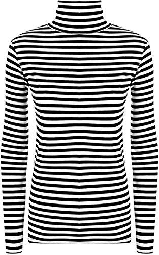 Zara Fashion -Damen Polo Gestreiftes Rollkragen Stretch Top Monochrom-Druck (36-38, Black White) (Zara Shirt)