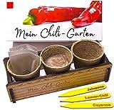 Mein Chili-Garten - Ein originelles Geschenk für jeden Anlass. «Lemon-Chili», «De Cayenne» Chili und «Jalapeno» Chili zum Züchten. Ideales Pflanzset als Geschenk zu Weihnachten, Geburtstag oder Ostern